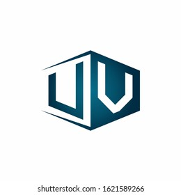 UV monogram logo with hexagon shape and negative space style ribbon design template