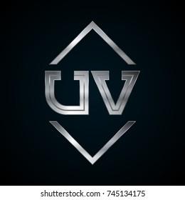 UV Monogram, Metal Logo, Silver Logo