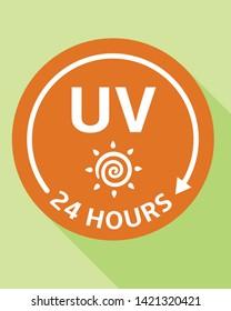 Uv protect 24 hours logo. Flat illustration of uv protect 24 hours vector logo for web design
