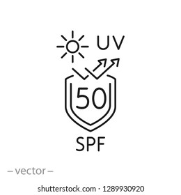 uv protect icon, spf 50 linear sign on white background - editable vector illustration eps10