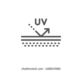 Uv protection cream line icon. Skin care sign. Cosmetic lotion symbol. Quality design element. Linear style uv protection icon. Editable stroke. Vector