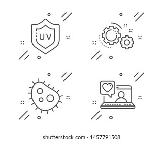 Uv protection, Gears and Bacteria line icons set. Friends chat sign. Skin cream, Work process, Antibacterial. Love. Business set. Line uv protection outline icon. Vector