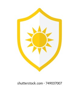 UV protection icon, sun and shield