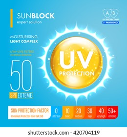 UV protection icon. Ultraviolet sunblock icon. SPF sun Protection icon. Vector illustration