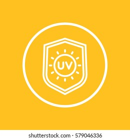 UV protection line icon in circle, vector illustration
