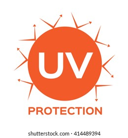 uv protection logo and icon vector, ultraviolet with reflection around the circle