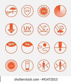 uv protection logo vector and icon , 16 ultraviolet set