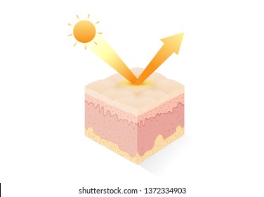 UV reflection from skin after protection. Illustration about Skin care concept.