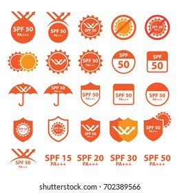 UV , spf protection icons