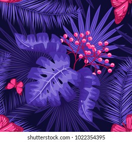 UV ultra violet luminous neon light effect pattern. Seamless repeating jungle rainforest plants, buttrfly and fern background, retro techno acid styling.