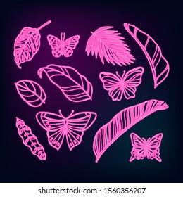 UV ultra violet luminous neon light effect editable template. Jungle rainforest plants, butterfly, retro techno acid styling.