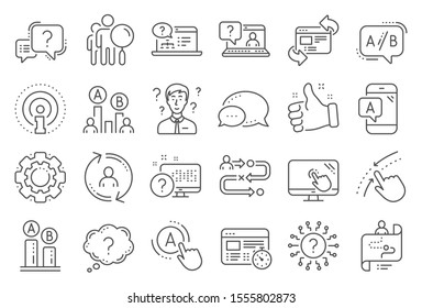 UX line icons. Set of AB testing, Journey path map and Question mark icons. Usability quiz test, Ux Ui and User flow. Project process, ab testing graph, survey test results. Quiz question. Vector