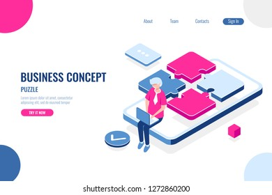 UX and UI design concept, isometric puzzle icon, part of program product, programmer with laptop, mobile application development, user expirience and interface, flat vector illustration