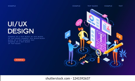 UX UI design Concept for web page, banner, presentation. Infographics, hero images. Flat isometric vector illustration.