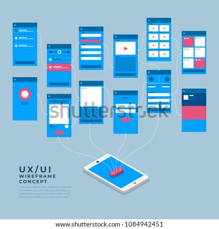 Ux Ui Flowchart Mockups Mobile Application Stock Vector Royalty