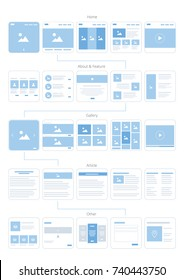 UX UI Web Flowchart. Vector illustration