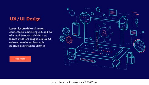 UX/UI Concept for web page, banner, presentation. Vector illustration