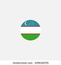 Uzbekistan Circle Flag Vector Illustration