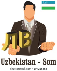 Uzbekistan currency symbol Uzbekistan som  representing money and Flag. Vector design concept of businessman in suit with his open hand over with currency isolated on white background in EPS10.