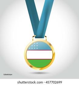 Uzbekistan Flag in gold Medal. Vector Illustration. RIO Olympic Game gold Medal. Vector Illustration
