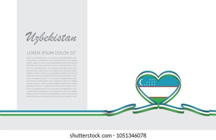 uzbekistan flag and love ribbon