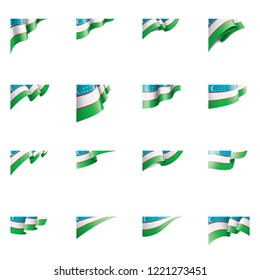 Uzbekistan flag, vector illustration on a white background