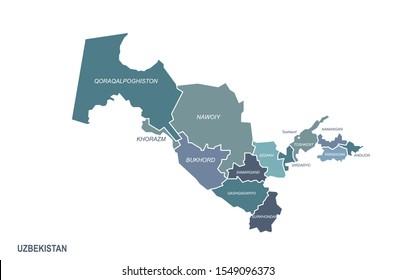 uzbekistan map. central asia countries map. middle asia. eurasia country.