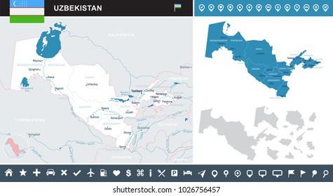 Uzbekistan map and flag - High Detailed Vector Illustration