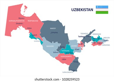 Uzbekistan, map and flag - High Detailed Vector Illustration