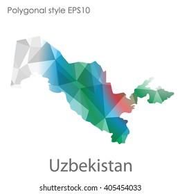 Uzbekistan map in geometric polygonal style.Abstract gems triangle,modern design background.