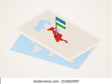 Uzbekistan selected on map with isometric flag of Uzbekistan. Vector paper map.