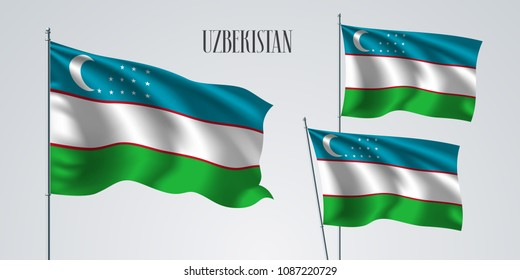 Uzbekistan waving flag set of vector illustration. Green blue colors of Uzbekistan wavy realistic flag as a patriotic symbol