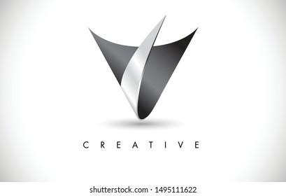 V 3D Letter Modern Trendy Design Logo. Letter V Icon Logo with  Metal Vector Illustration.