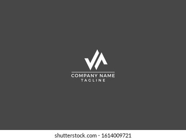 V, A, VA letter sign icon minimal abstract logo design vector file.