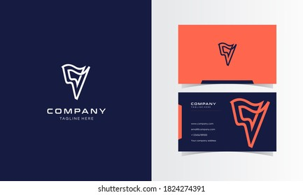 V Africa Line Minimalist Logo with business card Design