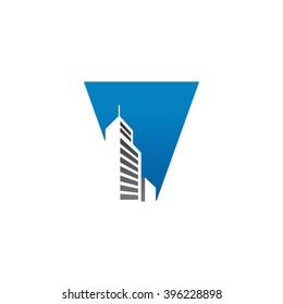 V alphabet building negative space letter logo blue
