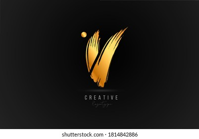 V alphabet letter logo icon in gold or golden color. Luxury brand design for company and business