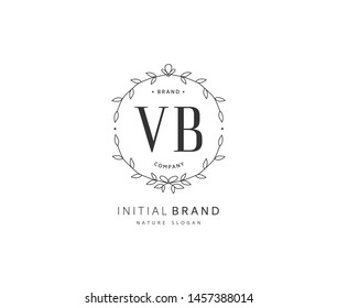 V B VB Beauty vector initial logo, handwriting logo of initial signature, wedding, fashion, jewerly, boutique, floral and botanical with creative template for any company or business.