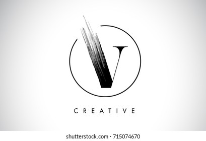 V Brush Stroke Letter Logo Design. Black Paint Logo Leters Icon with Elegant Circle Vector Design.