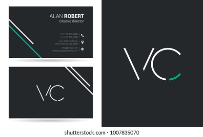 V & C joint logo stroke letter design with business card template