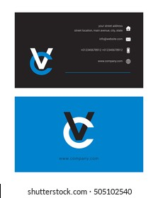 V & C Letter logo, with Business card template