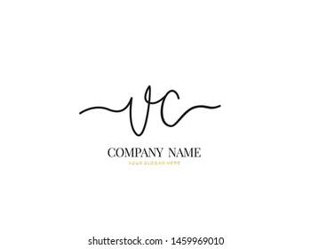 V C VC Initial handwriting logo design with circle. Beautyful design handwritten logo for fashion, team, wedding, luxury logo.