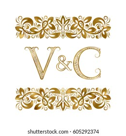 V and C vintage initials logo symbol. The letters are surrounded by ornamental elements. Wedding or business partners monogram in royal style.