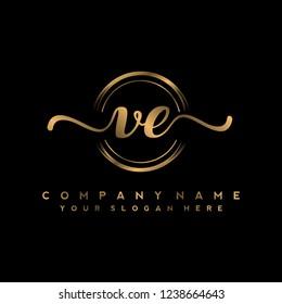 V E Initial handwriting logo vector