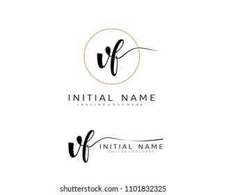 V F Initial handwriting logo vector. Hand lettering for designs.