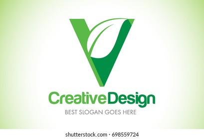 V Green Leaf Letter Design Logo. Eco Bio Leaf Letters Icon Illustration Vetor Logo.