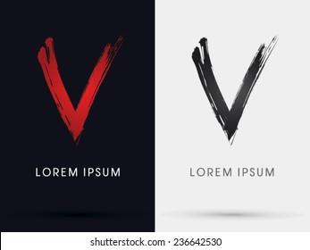 V grungy font, brush, logo, symbol, icon, graphic, vector .