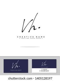 V H VH initial handwriting logo template vector.  signature logo concept
