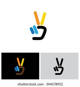 v hand victory symbol vector logo icon. this icon can also represent victory, winner, winning, success, progress, triumph, peace