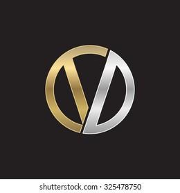 V initial circle company or VO OV logo black background